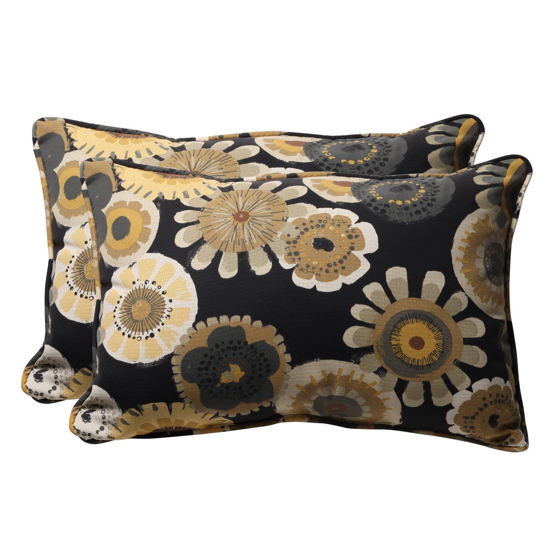 Decorative Black/Yellow Floral Rectangle Outdoor Toss Pillows (Set of 2)