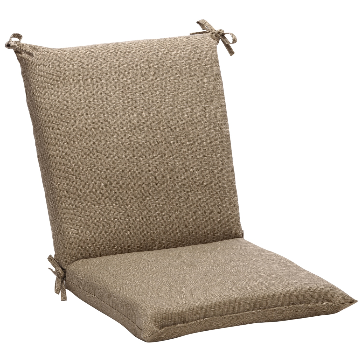 Squared Solid Taupe Textured Outdoor Chair Cushion