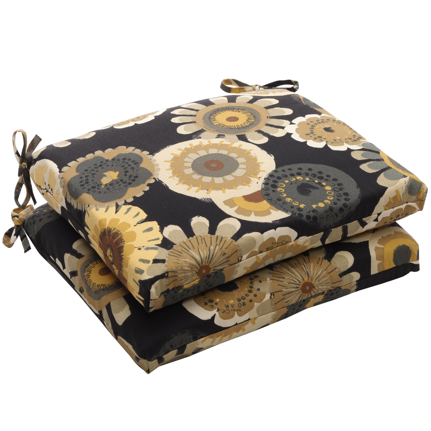 Squared Black/ Yellow Floral Outdoor Seat Cushions (Set of 2)