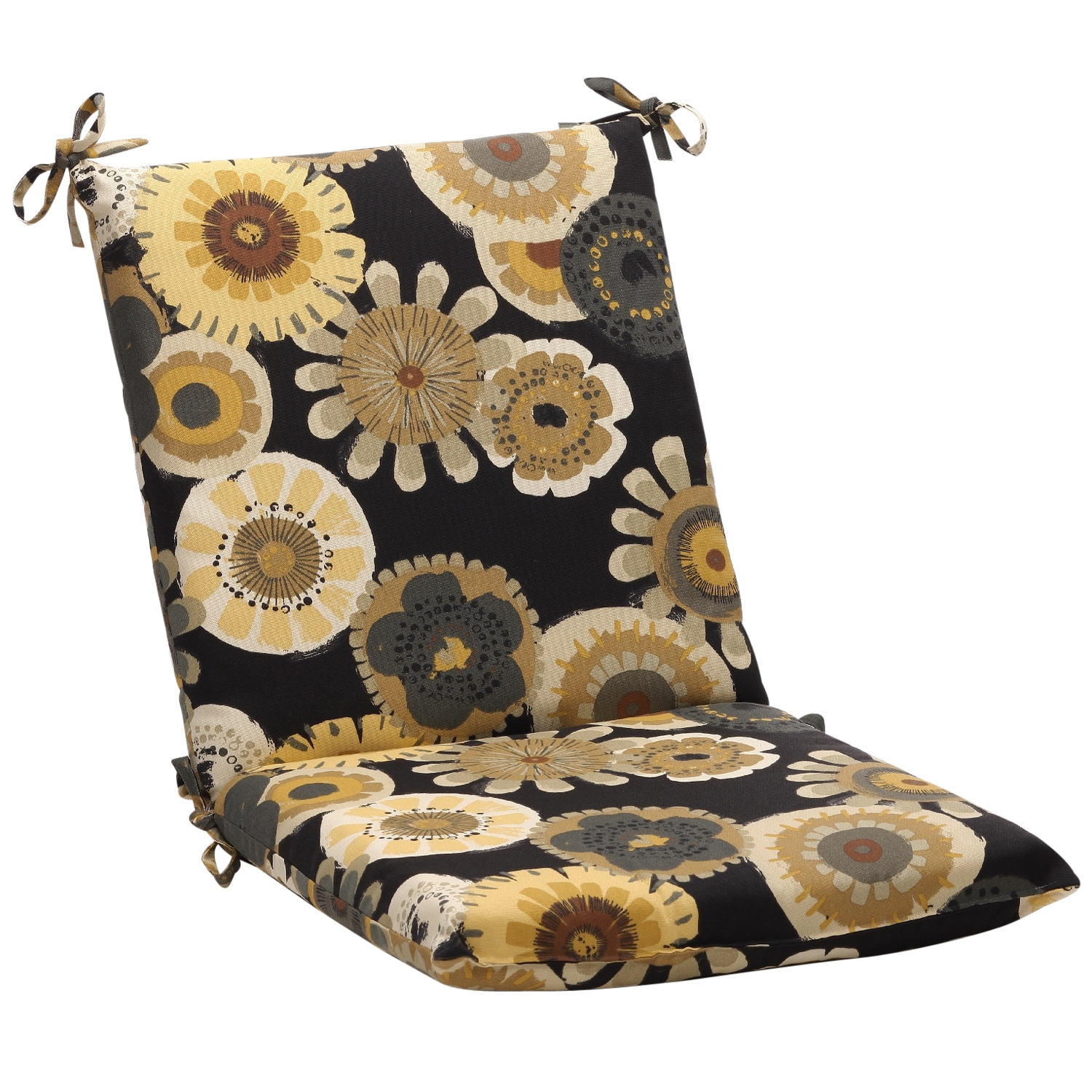 Squared Black Yellow Floral Outdoor Chair Cushion Free Shipping