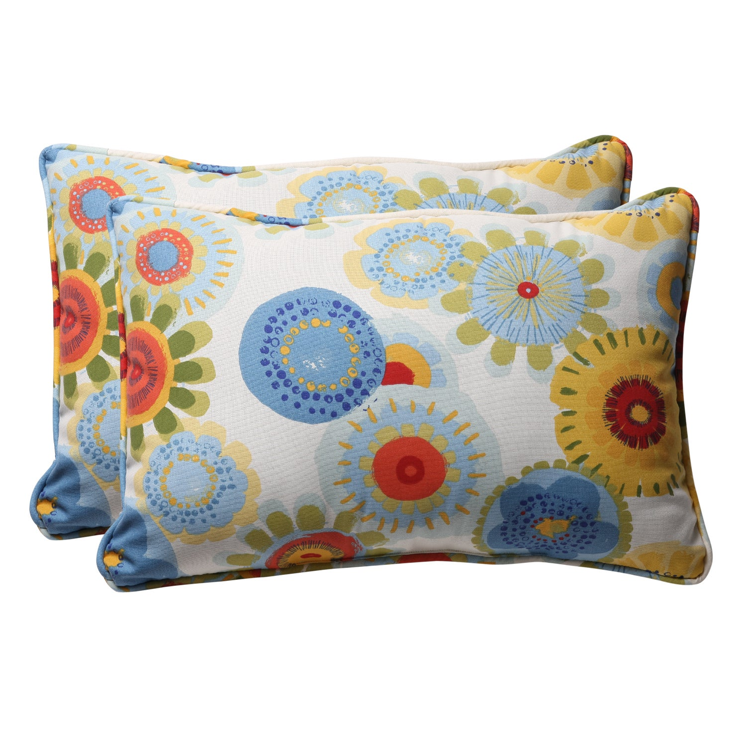 Decorative Multicolored Floral Rectangle Outdoor Toss Pillow (Set of 2)