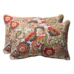 Decorative Multicolored Floral Rectangle Outdoor Toss Pillows (Set of 2)