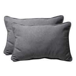 Decorative Gray Textured Solid Rectangle Outdoor Toss Pillows (Set of 2)