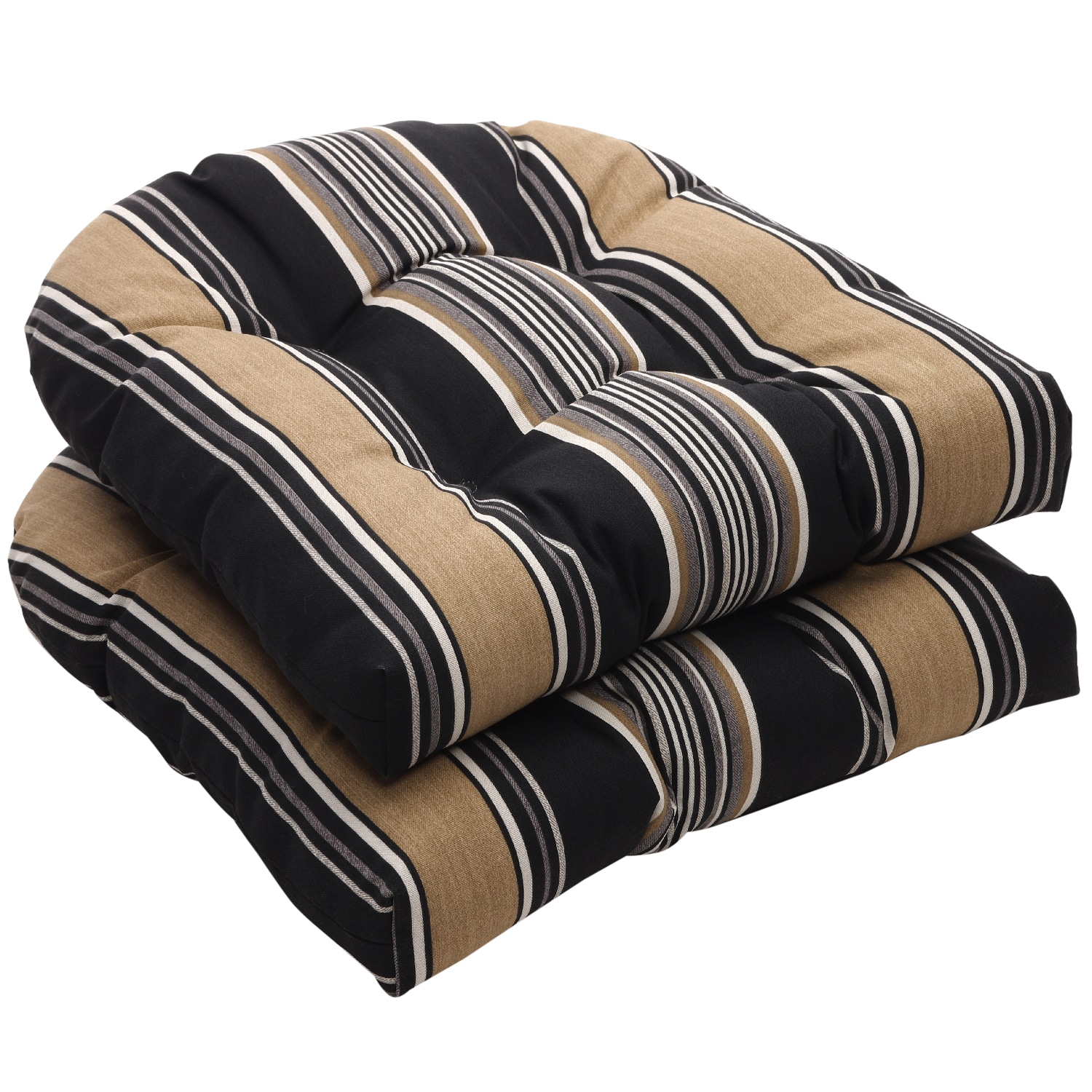 Outdoor Black and Tan Stripe Wicker Seat Cushions Set of