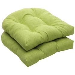 Outdoor Green Textured Solid Wicker Seat Cushions (Set of 2)