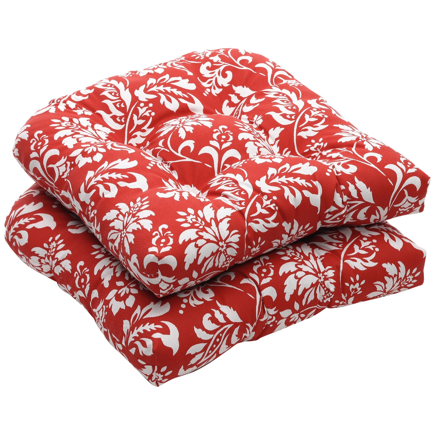 Outdoor Red and White Floral Wicker Seat Cushions (Set of 2)