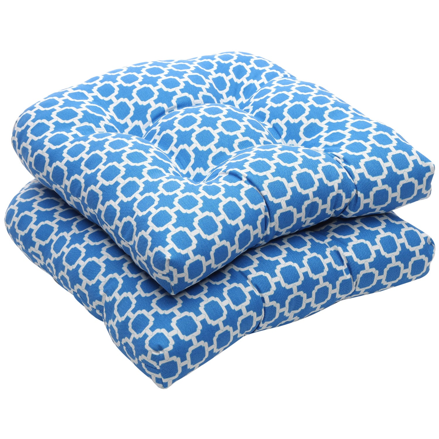 Outdoor Blue and White Geometric Wicker Seat Cushions Set