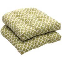 Outdoor Green and White Geometric Wicker Seat Cushions (Set of 2)