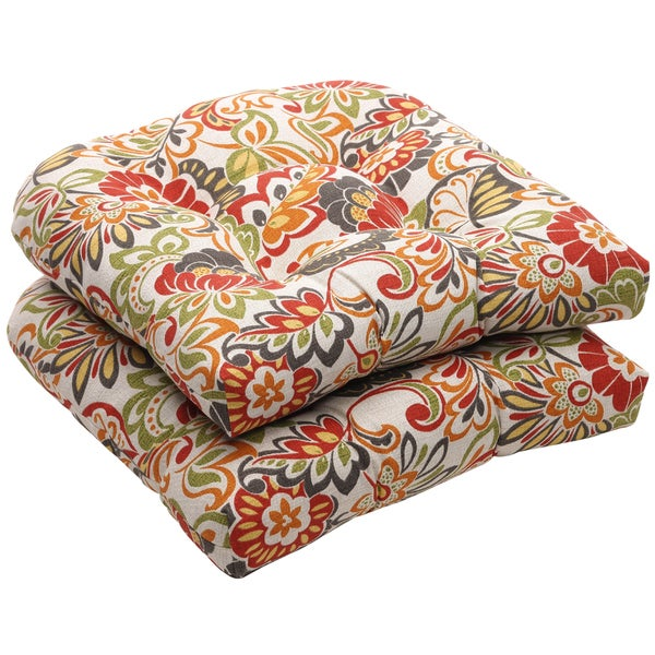 Outdoor Multicolored Floral Wicker Seat Cushions (Set of 2) - Red. Opens flyout.