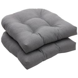 Outdoor Gray Textured Solid Wicker Seat Cushions (Set of 2)
