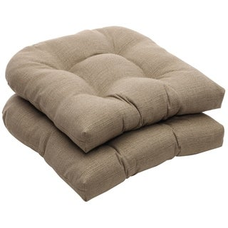 Outdoor Taupe Textured Solid Wicker Seat Cushions (Set of 2)