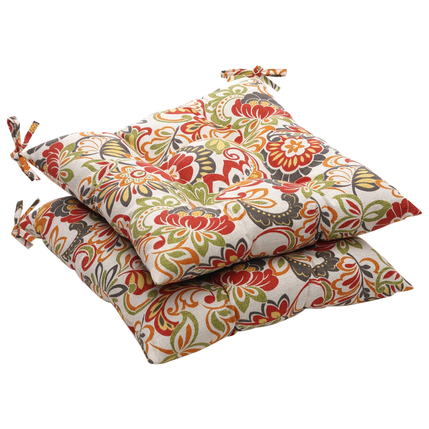 Multicolored Floral Outdoor Tufted Seat Cushions (Set of 2)