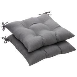 Solid Gray Textured Outdoor Tufted Seat Cushions (Set of 2)