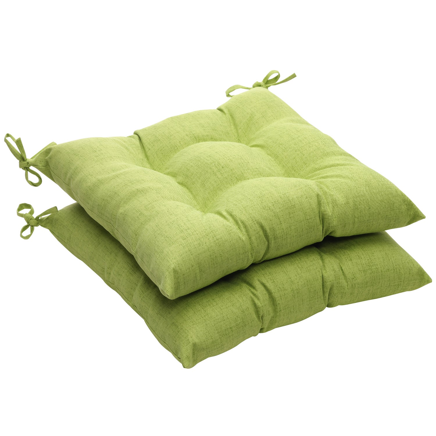 Solid Green Textured Outdoor Tufted Seat Cushions Set of