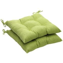 Solid Green Textured Outdoor Tufted Seat Cushions (Set of 2)