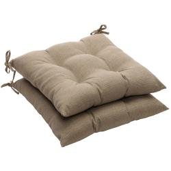 Solid Taupe Textured Outdoor Tufted Seat Cushions (Set of 2)