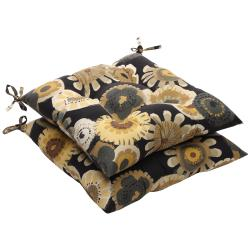 Black/ Yellow Floral Outdoor Tufted Seat Cushions (Set of 2)