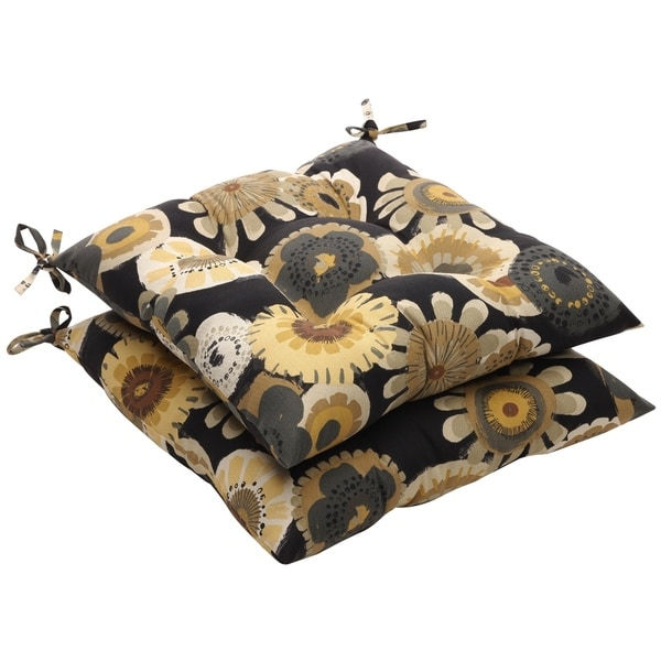 Shop Black Yellow Floral Outdoor Tufted Seat Cushions