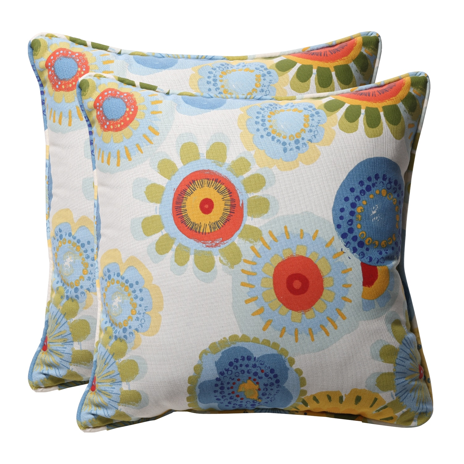 Decorative Multicolored Floral Square Outdoor Toss Polyester Pillows (Set of 2)