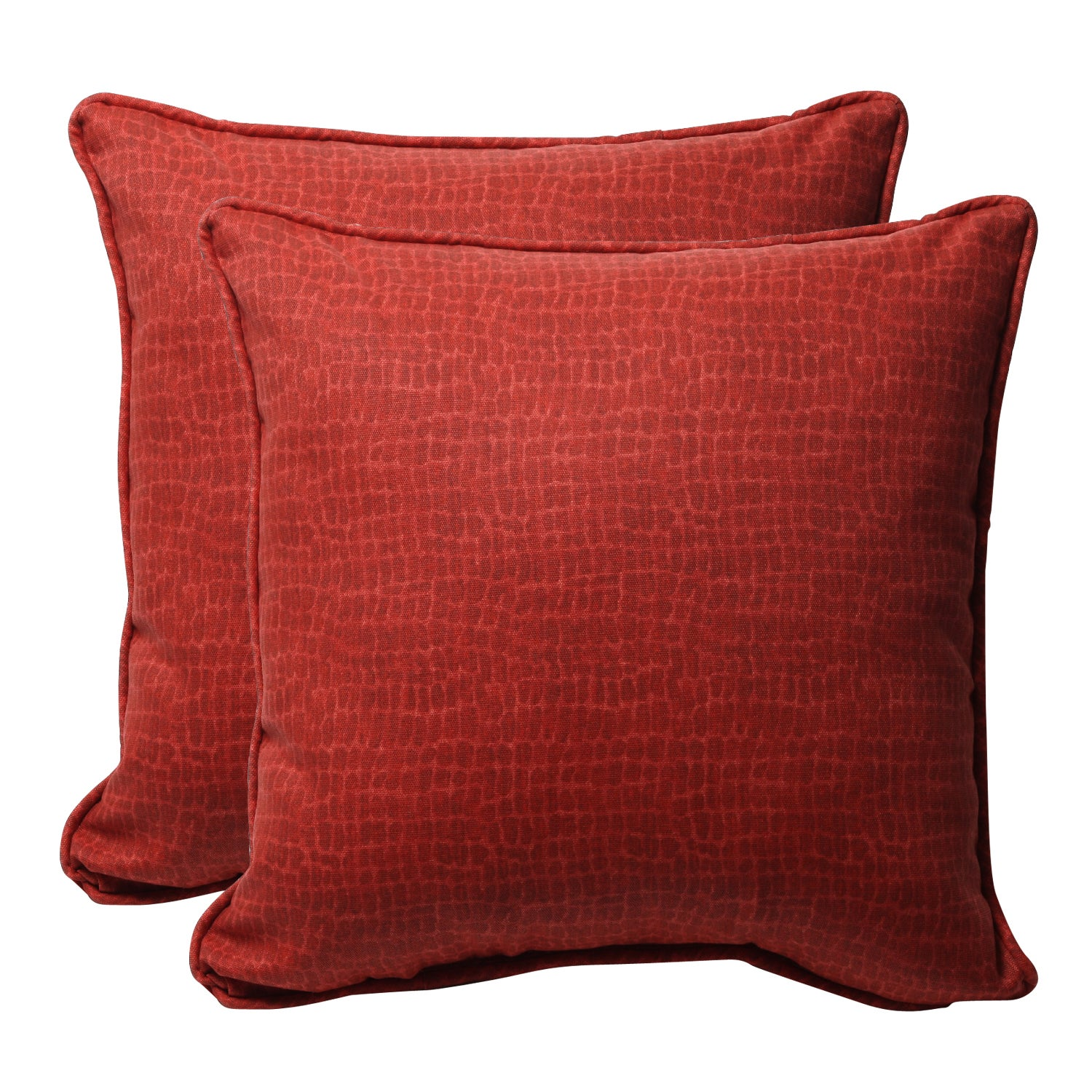 Decorative Red Animal Print Square Outdoor Toss Pillows (Set of 2)