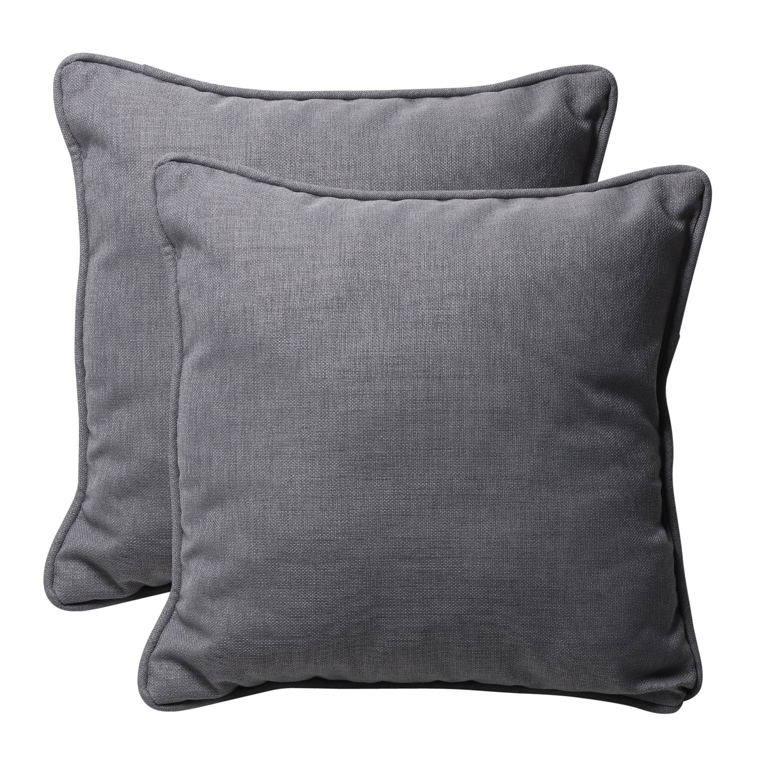 Decorative Grey Textured Solid Square Outdoor Toss Pillows Set of 2 Free Shipping Today