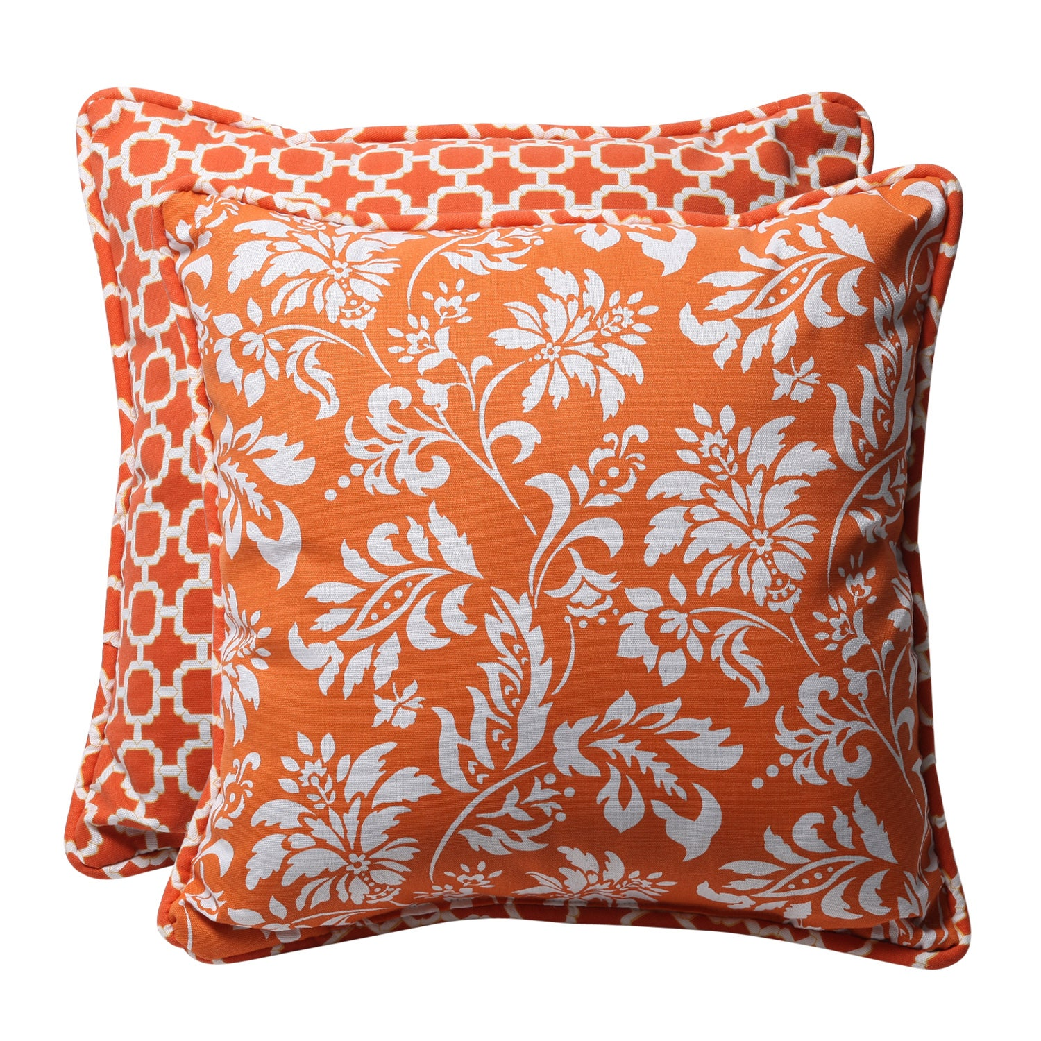 Decorative Orange/ White Geometric/ Floral Square Reversible Outdoor Toss Pillows (Set of 2)