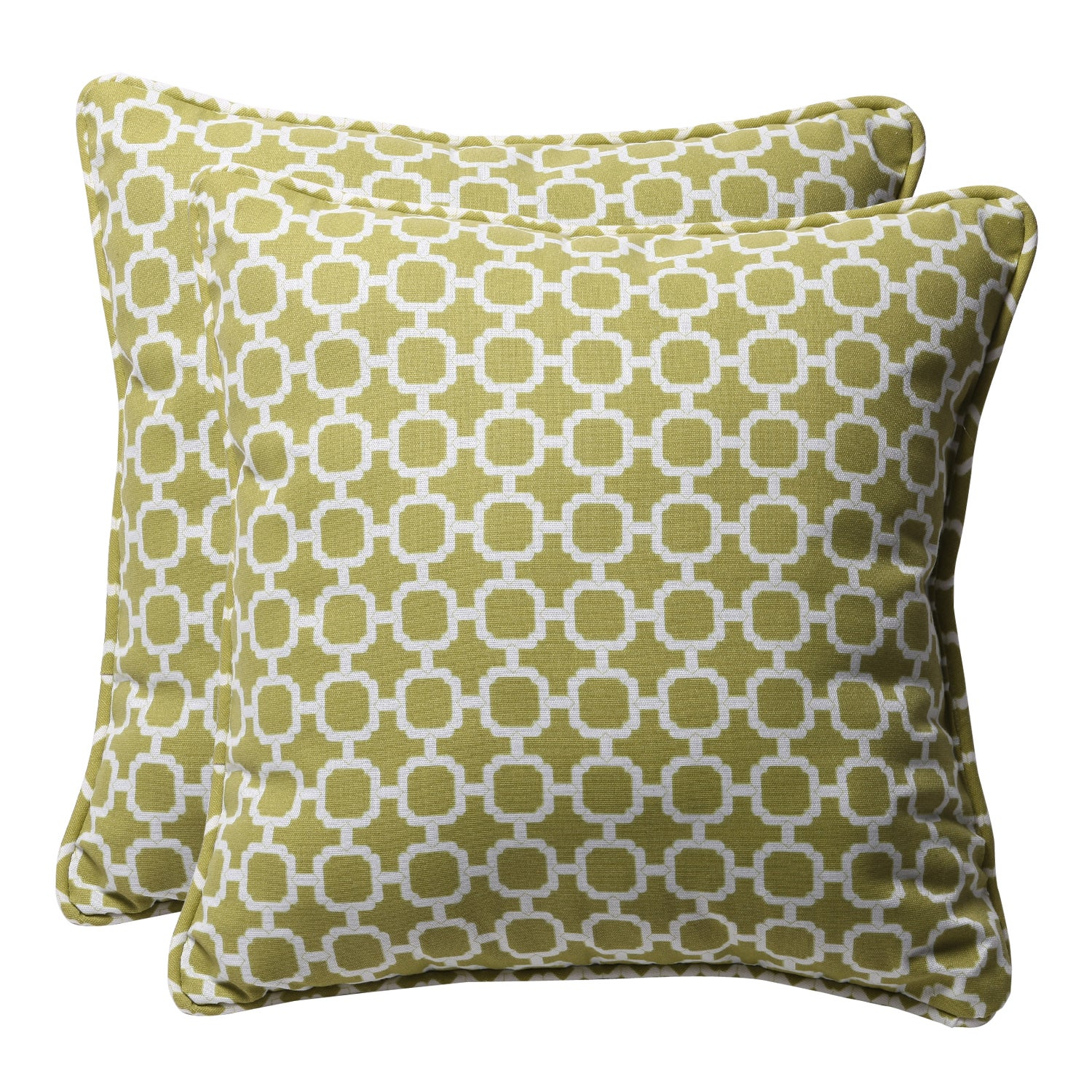 Decorative Green/ White Geometric Square Outdoor Toss Pillows (Set of 2)