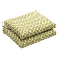 Outdoor Green and White Geometric Square Seat Cushions (Set of 2)