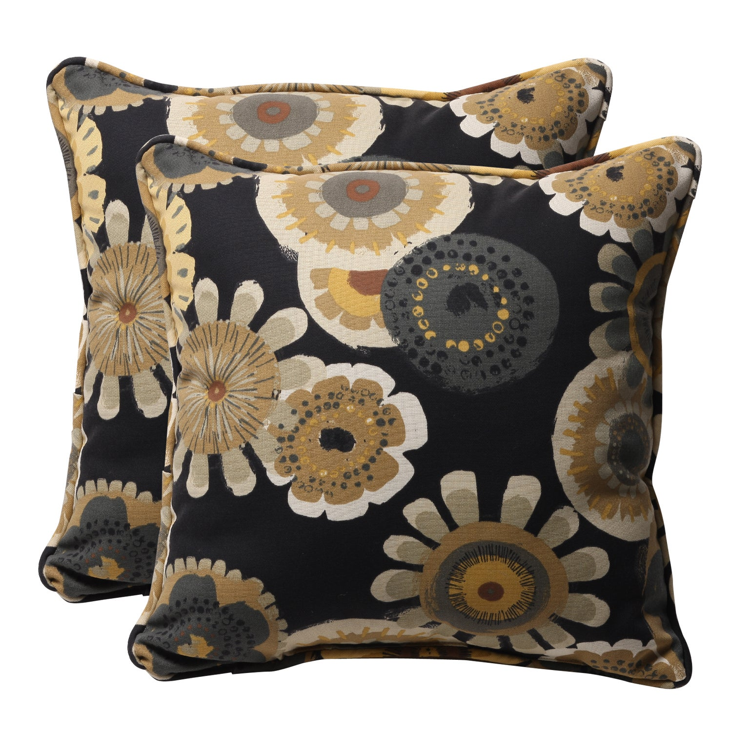 Yellow And Black Decorative Pillows : Decorative Black/ Yellow Floral Square Outdoor Toss Pillows (Set of 2) - Free Shipping Today ...