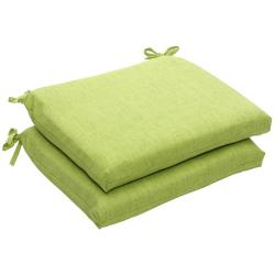 Outdoor Green Textured Solid Squared Seat Cushions (Set of 2)