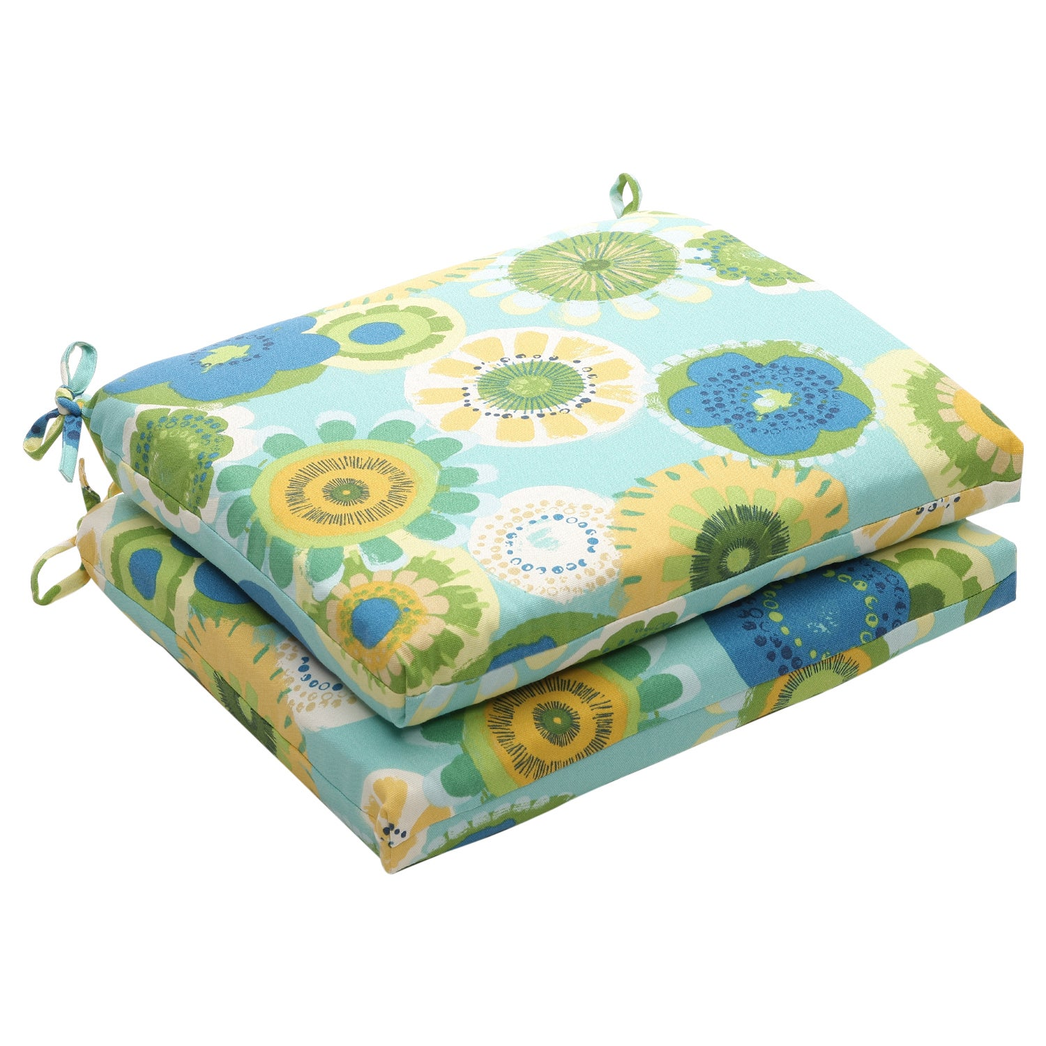 Outdoor Blue/Green Floral Squared Seat Cushion (Set of 2)