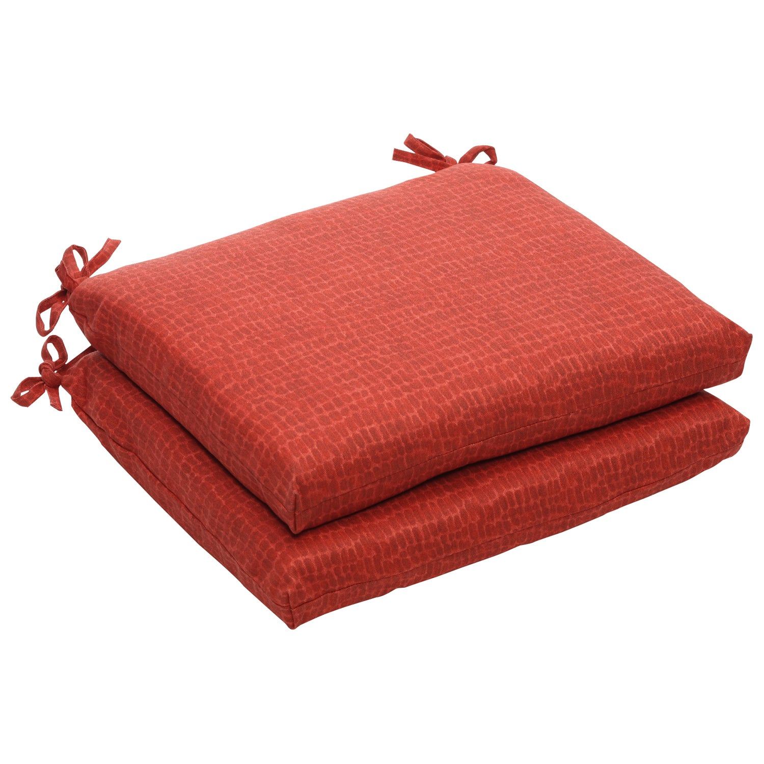 Outdoor Red Animal Print Square Seat Cushions Set of 2