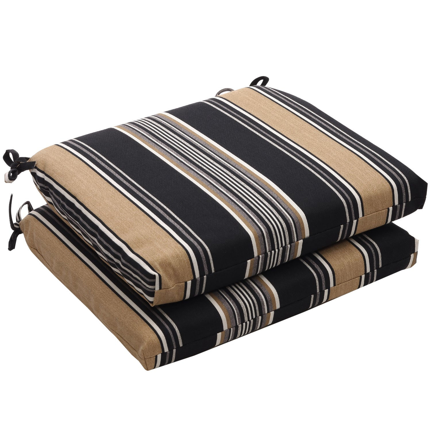 Outdoor Black and Tan Stripe Square Seat Cushions (Set of 2)