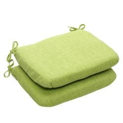 Outdoor Green Textured Solid Rounded Seat Cushion (Set of 2)