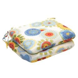 Weather-Resistant Outdoor Multicolored Floral Rounded Seat Cushions (Set of 2)