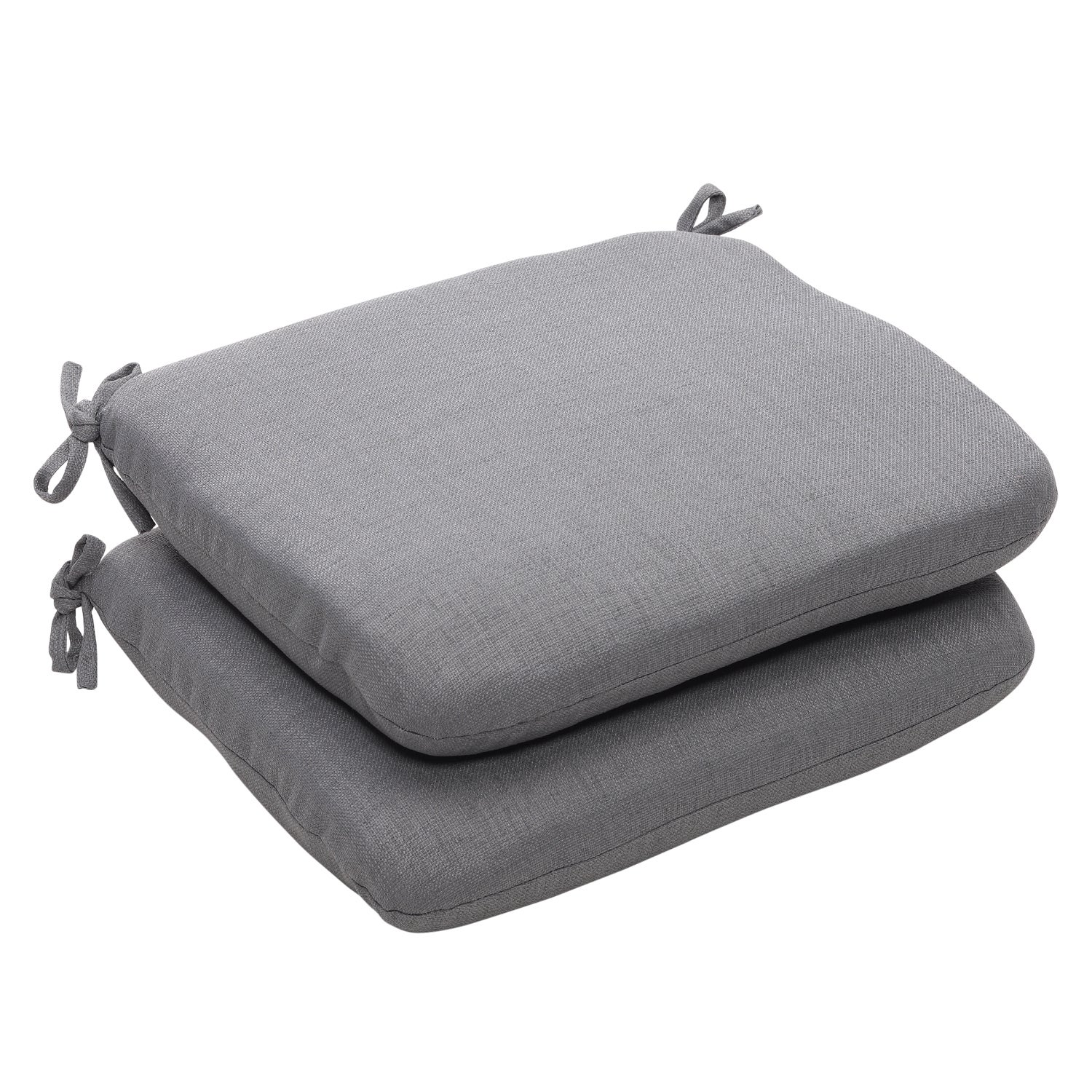 Outdoor Gray Textured Solid Rounded Seat Cushions (Set of 2)