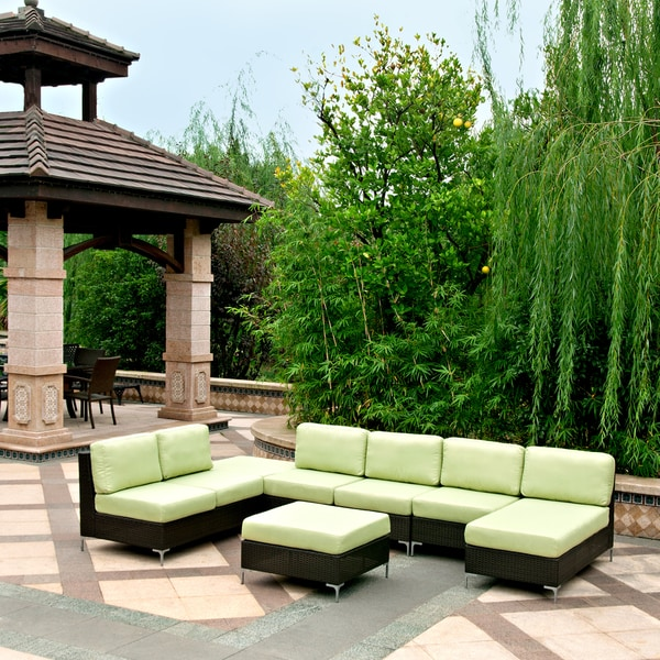 Handy living napa springs apple green 6 piece indoor outdoor wicker furniture set free Angelo home patio furniture