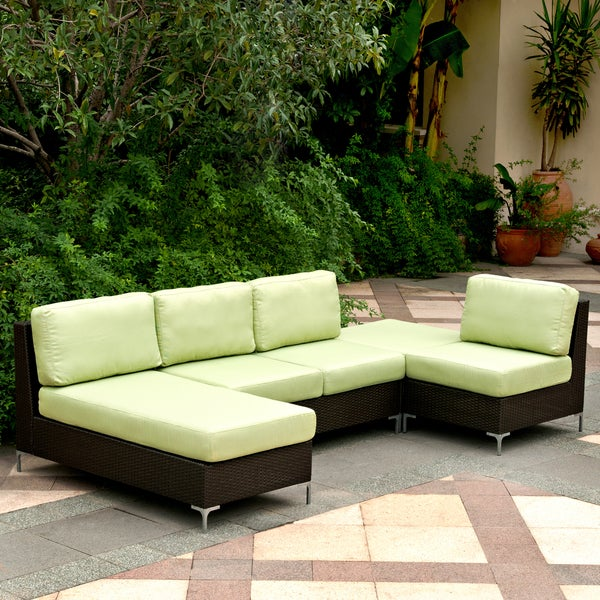 Handy Living Napa Springs Apple Green 4-piece Indoor/ Outdoor Wicker Furniture Set