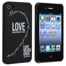 """Black with """"Love"""" Rear Snap-on Case for Apple iPhone 4/ 4S (Pack of 2) - Thumbnail 1"""
