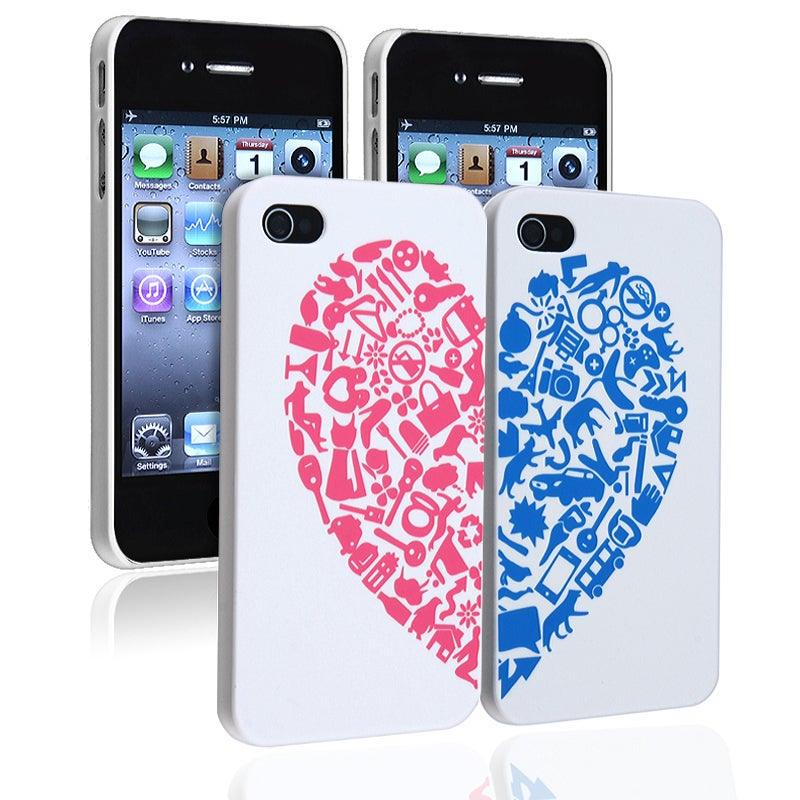 INSTEN Red/ Blue Heart Rear Snap-on Case Cover for Apple iPhone 4/ 4S (Pack of 2) - Thumbnail 0