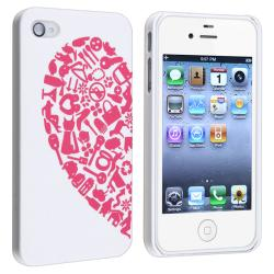 INSTEN Red/ Blue Heart Rear Snap-on Case Cover for Apple iPhone 4/ 4S (Pack of 2) - Thumbnail 1
