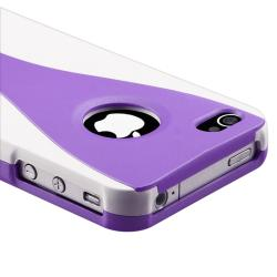 Dark Purple/ White Cup Shape Snap-on Case for Apple iPhone 4/ 4S