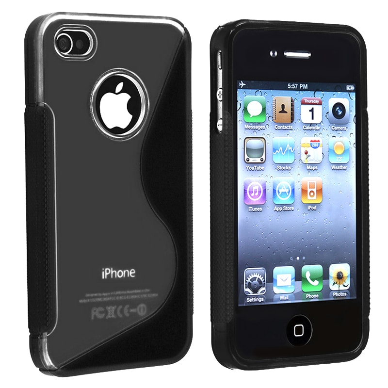 INSTEN Clear/ Frost Black S Shape TPU Rubber Skin Phone Case Cover for Apple iPhone 4/ 4S