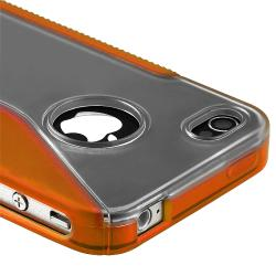 Clear/ Frost Orange S Shape TPU Rubber Case for Apple iPhone 4/ 4S - Thumbnail 1
