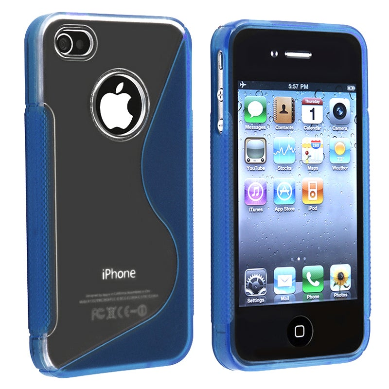 Clear/ Frost Dark Blue S Shape TPU Rubber Case for Apple iPhone 4/ 4S