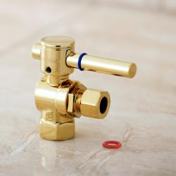 Polished Brass Angle Stop 3/8-inch IPS x 3/8-inch OD Compression