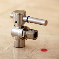 Satin Nickel Angle Stop 1/2-inch Sweat x 3/8-inch OD Compression