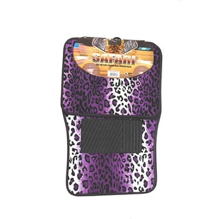Oxgord Velour / Plush Purple Safari Cheetah / Leopard Car Floor Mats (Set of 4)