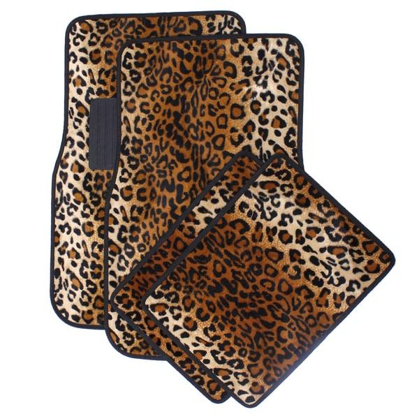 Velour / Plush Beige / Tan Safari Cheetah / Leopard Car Floor Mats (Set of 4)