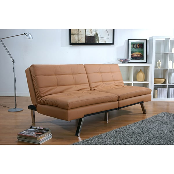Memphis camel double cushion futon sofa bed free for Sofa bed overstock